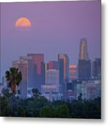 Full Moon Rising Over Downtown Los Angeles Skyline Metal Print