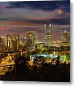 Full Moon Rising Over Downtown Portland Metal Print