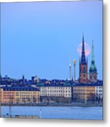 Full Moon Rising Over Gamla Stan Churches In Stockholm Metal Print