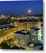 Full Moon Rising Over Portland Downtown Metal Print