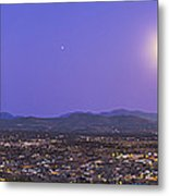 Full Moon Rising Over Silver City, New Metal Print