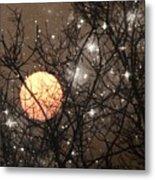 Full Moon Starry Night Metal Print