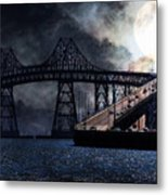 Full Moon Surreal Night At The Bay Area Richmond-san Rafael Bridge - 5d18440 Metal Print by Wingsdomain Art and Photography