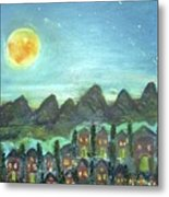 Full Moon Village Metal Print