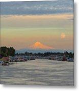 Full Moonrise Over Mount Hood Along Columbia River Metal Print