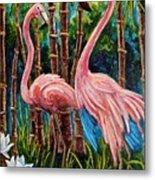 Fun Flamingos Metal Print