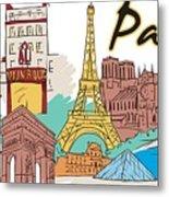 Fun Food And Folly In Paris Metal Print