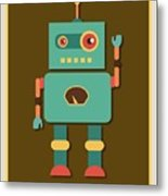 Fun Retro Robot Metal Print