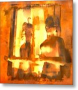Funky Abstract Square Welcome Couple Sunny Yellow Lake City 1b Metal Print