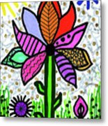 Funky Flower Mod Pop Metal Print