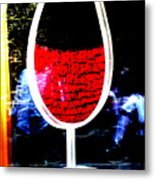 Funky French Red Wine Glass Metal Print