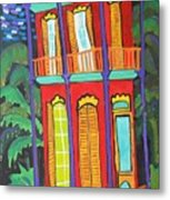 Funky Red House In New Orleans Metal Print