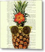 Funny And Cute Pineapple Art Metal Print