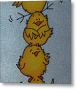 Funny Chickens Metal Print