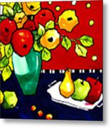 Funny Flowers And Fruit Metal Print