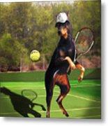 funny pet scene tennis playing Doberman Metal Print