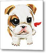 Funny Puppy Hand Painted Watercolor  Metal Print