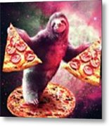 Funny Space Sloth With Pizza Metal Print