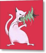 Funny White Cat Eats Christmas Tree Metal Print