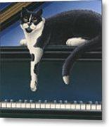 Fur Neil - Cat On Piano Metal Print