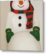 Fuzzy Snowman    Holiday Card 1 Metal Print
