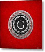 G - Silver Vintage Monogram On Red Leather Metal Print