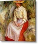 Gabrielle In A Straw Hat 1900 Metal Print