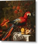 Gabriello Salci  Fruit Still Life With A Parrot Metal Print