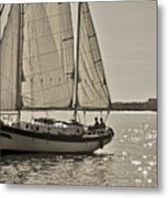 Gaff Rigged Ketch Cutter Sailing The Charleston Harbor Metal Print