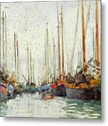 Gaily Coloured Fishing Vessels Metal Print