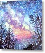 Galaxy Spring Night Watercolor Metal Print