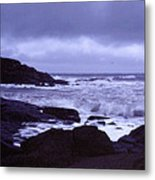 Gale Winds At Nubble Light Metal Print