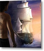 Galeon On The Horizon Metal Print