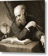 Galileo With Compass And Diagrams Metal Print