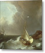 Galleon In Stormy Seas   Metal Print by Jan Claes Rietschoof