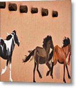 Galloping Horses Mural - Taos Metal Print