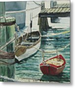 Galveston Boats Watercolor Metal Print