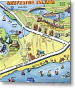 Galveston Texas Cartoon Map Metal Print