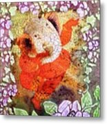 Ganesh In Dancing Pose With Floral Backdrop. Metal Print