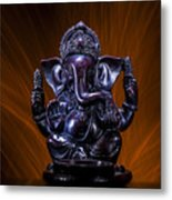 Ganesha With Fire Background Metal Print