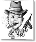 Ganster Child Caricature Metal Print