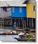 Ganvie's Floating Market Metal Print