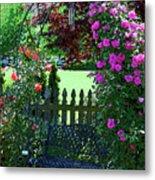 Garden Bench And Trellis Metal Print