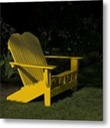 Garden Bench Yellow Metal Print