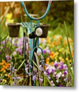 Garden Bicycle Metal Print