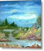 Garden By A Stream Metal Print
