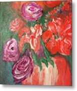 Garden Flowers In Vase 1 Metal Print
