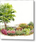Garden Fresh Watercolor Painting Metal Print
