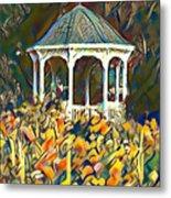 Garden Gazebo Watercolor Metal Print