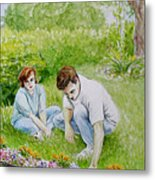 Garden Of Weedin Original Watercolor And Colored Pencil Nature Landscape Floral Painting Metal Print